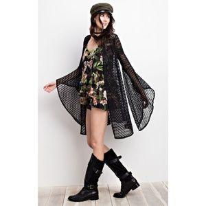 Sweaters - Crochet Lace Kimono Open Front Cardigan Black